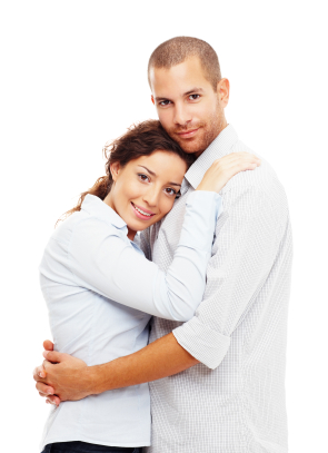 Portrait of a happy young couple embracing eachother against white